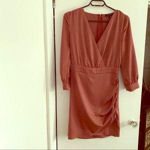 Dynamite - Pink Silk Long Sleeve Wrap Dress - XS